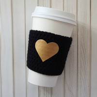 Coffee Cozy - Coffee Cup Sleeve - Coffee Gift - Gift Ideas - Coffee Sleeve - Gold Heart - Birthday Gift - Gifts for Her - Coworker Gift