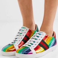 Gucci - Ace striped metallic leather sneakers