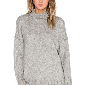 NLST Oversized Turtleneck Sweater in Heather Grey
