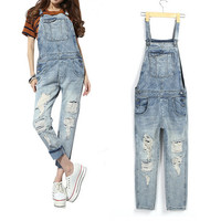 Pants  Straight Ladies Overalls Jeans Pants Ripped Hole pocket Wild Retro Jeans for