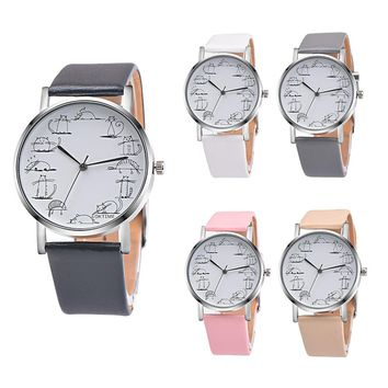 New Lovely Cartoon Cat Leather Quartz Analog Wristwatch