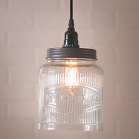 Vintage Style Farmhouse Large Glass Ribbed Jar Pendant Light Hoosier Glass