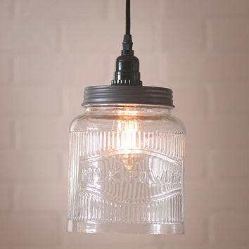 Farmhouse Kitchen Large Glass Ribbed Jar Pendant Light.