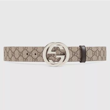 "GUCCI Men's GG Supreme belt with G buckle Tan Brown size 100/40"" Authentic"