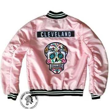 Women's Cleveland Sugar Skull Varsity Zip Up Bomber Jacket