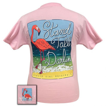 Girlie Girl Preppy Stand Tall Darlin Flamingo T-Shirt