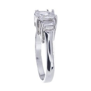 Plutus Brands 925 Sterling Silver Platinum Finish Emerald Cut Three Stone Engagement Ring 1.5 Carat Weight- Size 6