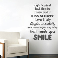 Vinyl Quote Wall Decoration - Life is Short Decal