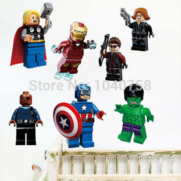Lego Movie Avengers Wall Stickers Decals Art for Baby Nursery Kid Room Home Decoration WallPaper Cartoon Captain America Poster