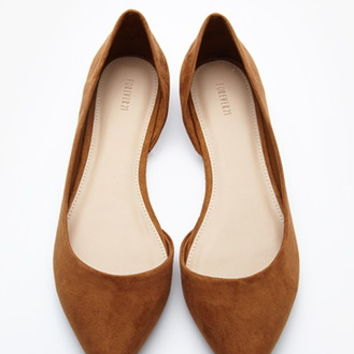 Pointed Faux Suede Flats