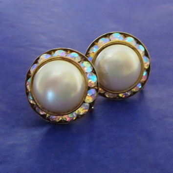 "Vintage Pearly Lucite & Aurora Borealis Earrings, Rhinestone UFO Dome Flying Saucer Earrings, ""Keep Watching the Sky!"""