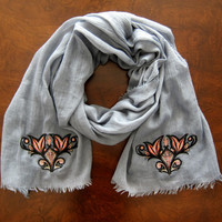 Womens Embroidered Grey Soft Lightweight Summer Scarf/Shawl