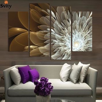 4Panels Wealth And Luxury  Flowers Canvas Wall Painting Art Picture Home Decor On Canvas Modern Wall Painting