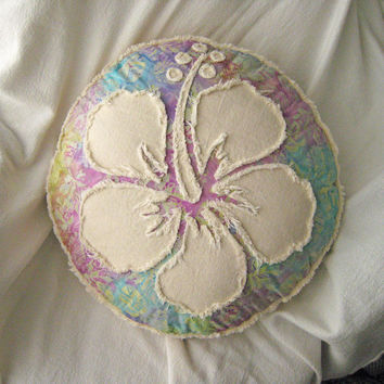 Hibiscus flower multi color floral batik and natural denim boho round pillow