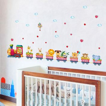 [Fundecor] cartoon animal train wall stickers for kids rooms nursery baby children bedroom home decoration art decals