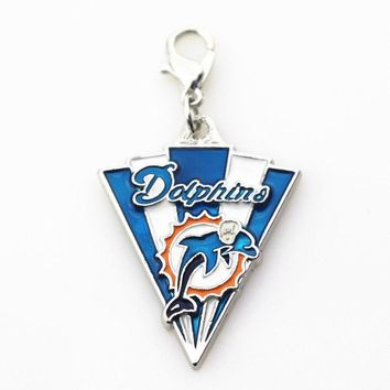 20pcs/lot Miami Dolphins Charm team sports dangle charms DIY bracelet/necklace lobster clasp hanging charm jewelry accessory
