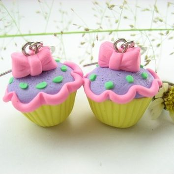 Eye Candy Lolita Cupcake Earrings - food jewelry