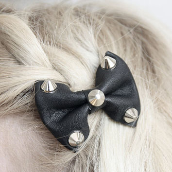 Leather Bow with Studs Hair Clip By NeonAngelDesign