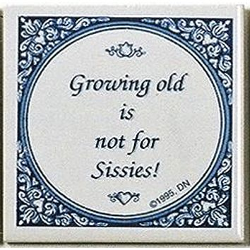 Wall Plaque Tile Quotes: Growing Old Not..