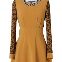 Baroque Pattern Crystal Collar Dress in Mustard - New Arrivals - Retro, Indie and Unique Fashion
