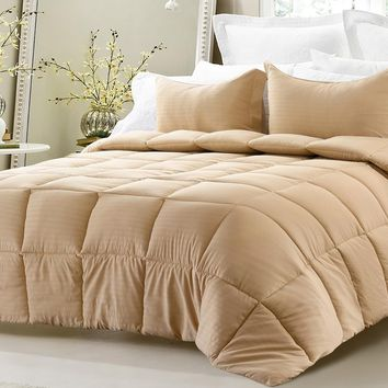 3PC REVERSIBLE SOLID/ EMBOSS STRIPED COMFORTER SET- OVERSIZED AND OVERFILLED ( 2 BEDDING LOOKS IN 1) - KHAKI