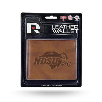North Dakota State Bison MM Wallet Brown LEATHER Embossed Bifold University
