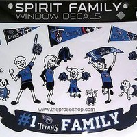 Tennessee Titans Family Spirit LARGE Window Decal Sheet NFL Football