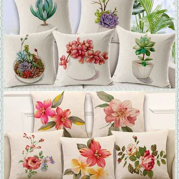 Maiyubo Luxury Flower Cushion Cover Floral Plant Pillowcase Bed Car Hotel Home Decor Vintage Scandinavian Cushion for Sofa PC488