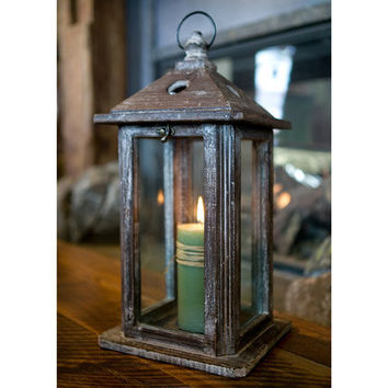 Rustic Wood and Glass Lantern : High Camp Home - Interior Design and Home Furnishings - Truckee and Lake Tahoe California