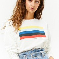 French Terry Striped Graphic Sweater
