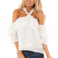 Ivory Ruffle Halter Neck Top with Off the Shoulder Sleeves