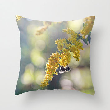 Bee on Yellow and Green Goldenrod  - Throw Pillow Cover