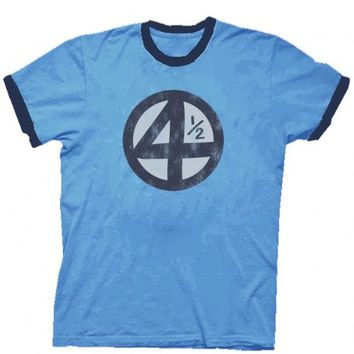 Fantastic Four 4.5 4 1/2 Scott Pilgrim Distressed Carolina Blue Adult T-shirt