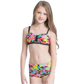 2018 Girl Kids Camouflage Bikini Set Swimsuit Beach Wear Swimwear Swim Bathing Suit Children Cute Sexy Bather Pool Teens Tanga