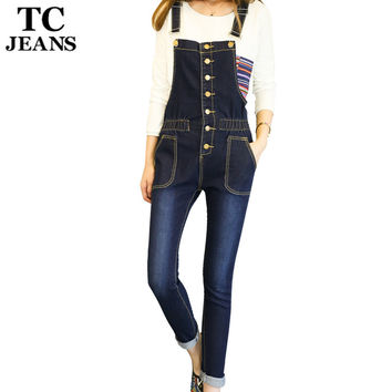 TC Big Size 5XL 4XL Women Jeans Jumpsuits 2017 Autumn Skinny Casual Slim Blue Pockets Single Breasted Denim Coverall FT00438