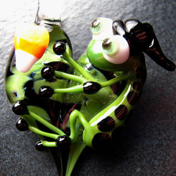 Halloween Jewelry - Witch Frog pendant - Glass lampwork pendant focal charm bead necklace - Boomwire Glass jewelry
