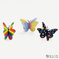 """Beautiful Butterfly Craft Kit """"Color Your Own 3D Butterfly Ornaments"""" (24 Count)"""