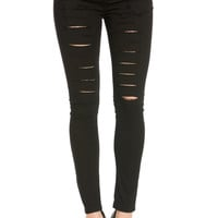 Distressed Skinny Black Jogger Jeans