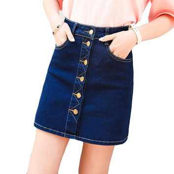 skirts womens  saia jeans faldas summer denim skirt high waist mini woman a line short ladies button blue S XL