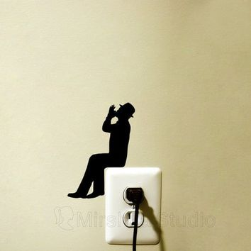 Harmonica Player Light Switch Velvet Sticker  - Music Wall Decal - Folk Wall Art - Music Lover Decor - Gift For Musician - Cool Stickers