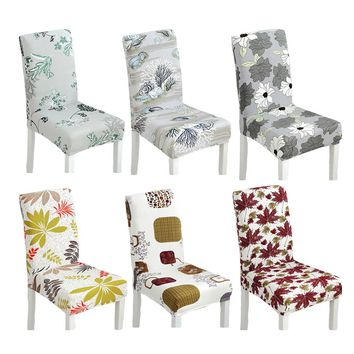 1pc durable spandex polyester stretch bule flowers chair cover colorful floral wedding party dining room decor chair seat covers
