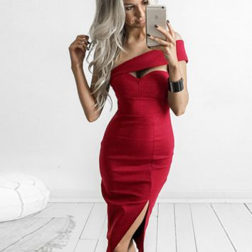 OFF Shoulder dress slit Slim package hip skirt