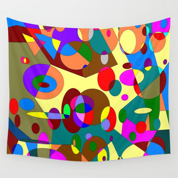 Abstract Circles Wall Tapestry by kasseggs