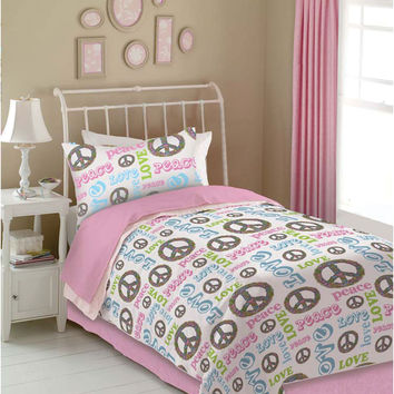 Veratex Indoor Bedroom Decorative Bedding Accessories Peace And Love Comforter Set Twin Pink/White