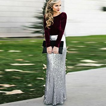 Glitter Silver Sequin Maxi Skirt for Women High Waist Mermaid Sequins Long Skirts Custom Made Jupe femme Faldas Saia 1