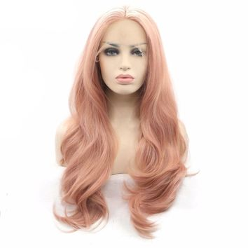 Rose Gold Nature Wave Synthetic Lace Front Wigs