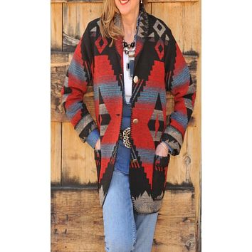 Rhonda Stark Red Dakota Car Coat- size Medium