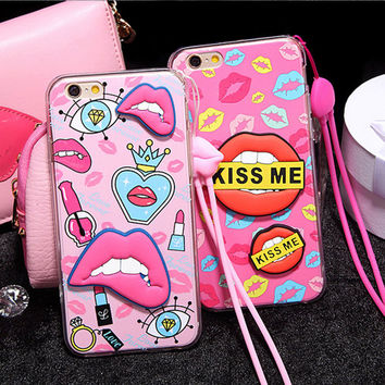 Cute 3D Sexy Soft Lips Case Cover For Apple iPhone 5 5s SE 6 6s Plus 6Plus TPU Silicone Luxury Fashion Vintage Capa with Lanyard