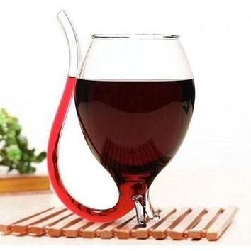 Built-In Straw Wine Glass