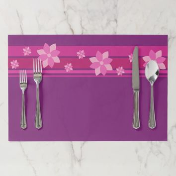 Pink Flowers Paper Placemat